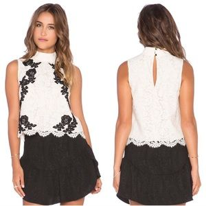 Saylor Isla Floral Lace Cropped Blouse